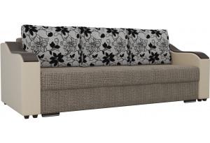 Прямой диван Монако Коричневый/Бежевый (Корфу/экокожа/флок на рогожка)