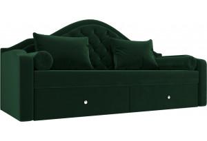 Прямой диван софа Сойер Зеленый (Велюр)
