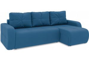 Диван угловой правый «Томас Т1» Beauty 07 (велюр) синий
