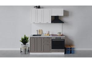 Кухонный гарнитур «Бьянка» длиной 160 см со шкафом НБ (Белый/Дуб белый/Дуб серый)