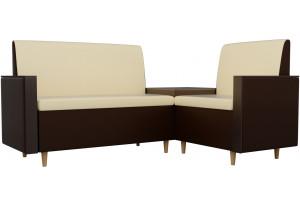 Кухонный угловой диван Модерн бежевый/коричневый (Экокожа)