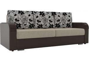 Прямой диван Мейсон бежевый/коричневый (Микровельвет/Экокожа/флок на рогожке)