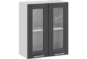 Шкаф навесной c двумя дверями со стеклом «Ольга» (Белый/Графит)