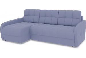 Диван угловой левый «Аспен Slim Т2» (Poseidon Blue Graphite (иск.замша) серо-фиолетовый)