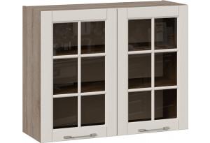 Шкаф навесной со стеклом (СКАЙ (Бежевый софт))