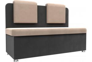Кухонный прямой диван Маккон 2-х местный бежевый/Серый (Велюр)