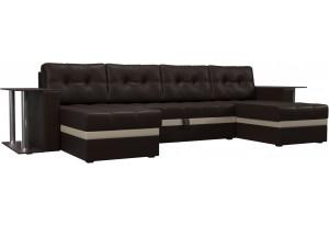П-образный диван Атланта со столом Коричневый (Экокожа)