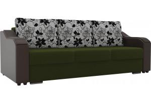 Прямой диван Монако зеленый/коричневый (Микровельвет/Экокожа/флок на рогожке)