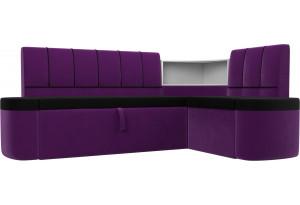 Кухонный угловой диван Тефида черный/фиолетовый (Микровельвет)