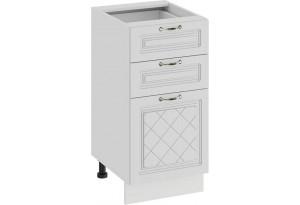 Шкаф напольный с тремя ящиками «Бьянка» (Белый/Дуб белый)