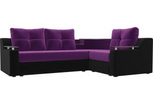 Угловой диван Тесей Фиолетовый/Черный (Микровельвет)