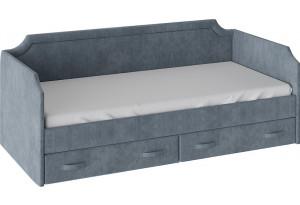 Кровать с мягкой обивкой и ящиками «Кантри» Тип 1 (900) Замша синяя