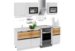 Кухонный гарнитур длиной - 210 см Фэнтези (Белый универс)/(Вуд)