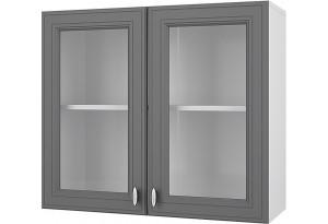 Ева Навесной шкаф 800 мм (витрина) с дверями МДФ и стеклом