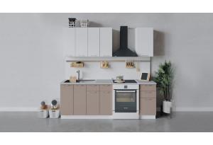 Кухонный гарнитур «Весна» длиной 160 см (Белый/Белый глянец/Кофе с молоком)