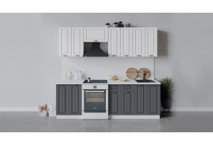 Кухонный гарнитур «Лина» длиной 240 см (Белый/Белый/Графит)