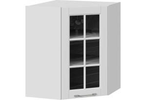 Шкаф навесной угловой с углом 45° со стеклом (СКАЙ (Белоснежный софт))