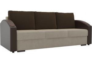 Прямой диван Монако slide бежевый/коричневый (Микровельвет/Экокожа)