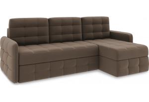 Диван угловой правый «Райс Slim Т1» Beauty 04 (велюр) коричневый
