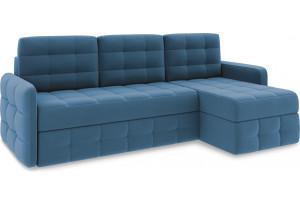 Диван угловой правый «Райс Slim Т1» Beauty 07 (велюр) синий