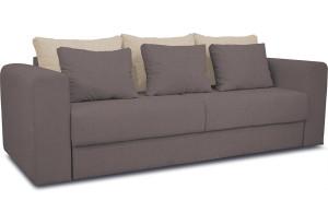 Диван «Вилсон» Neo 12 (рогожка) коричневый, подушка Neo 02 (рогожка) бежевый