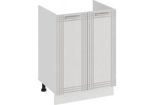 Шкаф напольный с двумя дверями (под накладную мойку) «Ольга» (Белый/Белый)