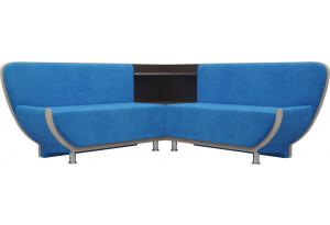 Кухонный угловой диван Лотос голубой/бежевый (Велюр)