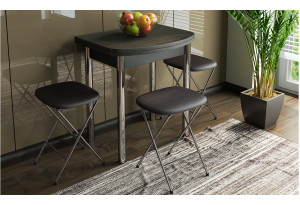 Стол обеденный с хромированными ножками «Лион (мини)» Венге