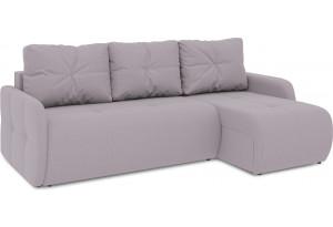 Диван угловой правый «Томас Slim Т1» (Poseidon Pale Lavender (иск.замша) бледно-лавандовый)