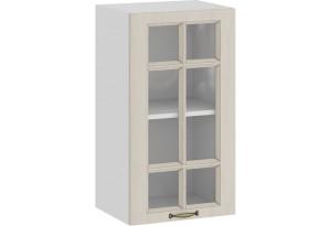 Шкаф навесной c одной дверью со стеклом «Лина» (Белый/Крем)