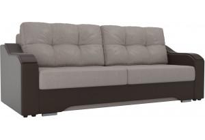 Прямой диван Браун бежевый/коричневый (Рогожка/Экокожа)