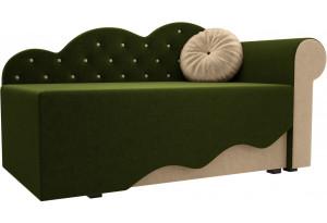 Детская кровать Тедди-1 Зеленый/Бежевый (Микровельвет)