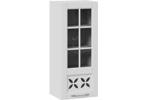 Шкаф навесной cо стеклом и декором (правый) (СКАЙ (Белоснежный софт))