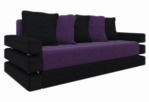 Диван прямой Венеция Фиолетовый/Черный (Микровельвет)