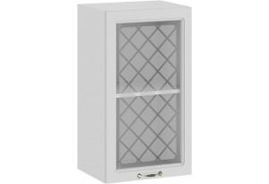 Шкаф навесной c одной дверью со стеклом «Бьянка» (Белый/Дуб белый)