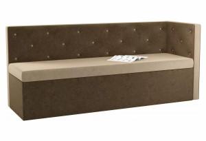 Кухонный диван Салвадор с углом бежевый/коричневый (Микровельвет)