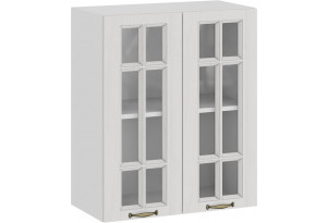 Шкаф навесной c двумя дверями со стеклом «Лина» (Белый/Белый)