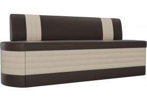 Кухонный прямой диван Токио Коричневый/Бежевый (Экокожа)