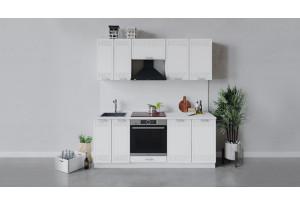 Кухонный гарнитур «Долорес» длиной 200 см со шкафом НБ (Белый/Сноу)