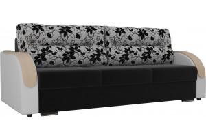 Прямой диван Дарси Черный/Белый (Микровельвет/Экокожа/флок на рогожке)