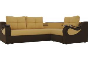 Угловой диван Митчелл Желтый/коричневый (Микровельвет)