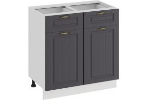 Шкаф напольный с двумя ящиками и двумя дверями «Лина» (Белый/Графит)
