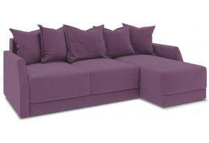 Диван угловой правый «Люксор Slim Т1» (Kolibri Violet (велюр) фиолетовый)