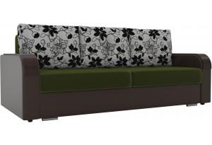 Прямой диван Мейсон зеленый/коричневый (Микровельвет/Экокожа/флок на рогожке)