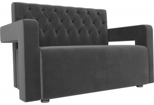 Прямой диван Рамос Люкс 2-х местный Серый (Велюр)