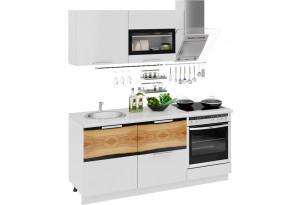 Кухонный гарнитур длиной - 180 см (со шкафом НБ) Фэнтези (Белый универс)/(Вуд)