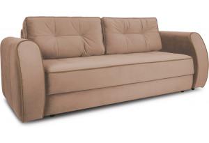 Диван «Хьюго» (Fenix Koriza (микровелюр) Светло - коричневый кант Fenix Brown (микровелюр) Коричневый)