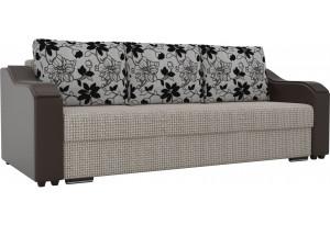 Прямой диван Монако бежевый/коричневый (Корфу/экокожа/флок на рогожка)