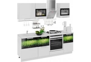 Кухонный гарнитур длиной - 210 см (со шкафом НБ) Фэнтези (Белый универс)/(Грасс)