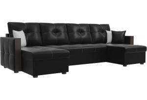 П-образный диван Валенсия Черный (Экокожа)